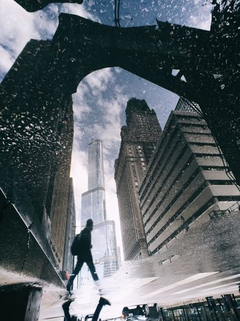 Streetphotography Puddleography Puddle Chicago MidWest After The Rain Upside Down Silhouette Reflection The Street Photographer - 2016 EyeEm Awards Fresh On Market 2018