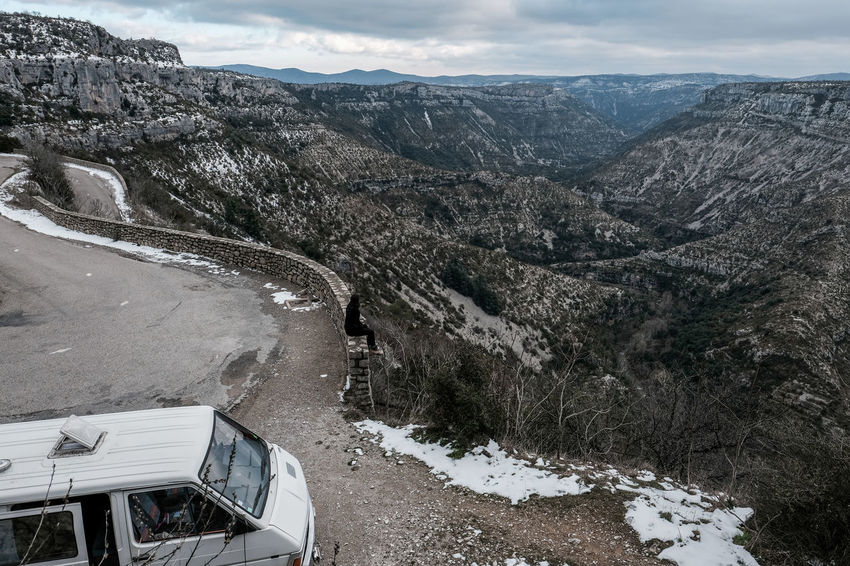 Cirque de Navacelle Landscape_Collection Life In Motion Lifestyle Mountain View Road Roadtrippin' Snow ❄ Clouds Clouds And Sky Fujifilm Fujifilm_xseries Landscape Mountain Mountain Range Mountains Oldschool Renault Roadtrip Sky Snow Snowing Trafic Van Van Aménagé Vanlife