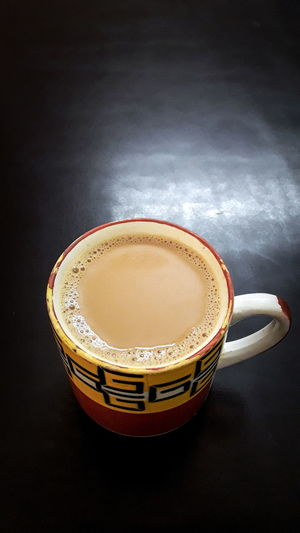 A cup of aromatic, creamy and refreshing deliciousness 😋 InMakin! Tea Tea Time Tea Cup Milk Tea Freshness Refreshment Food And Drink Black Background Randomness Phone Photography