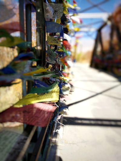 Be. Ready. Day Outdoors No People Close-up Prayer Flags  Ladakh Bridge Photography Indus River Bokeh Pixel Photography Windy Day