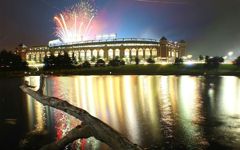 Homerun! Rangers Baseball Night Illuminated Reflection Celebration Arts Culture And Entertainment Water Travel Destinations No People Firework Display Nightlife Architecture