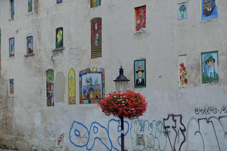 Bratislava, Slovakia - Wall of paintings Architecture Bratislava, Slovakia Building Exterior Built Structure Day Flower Graffiti Lampost Multi Colored No People Outdoors Wall Paintings Window