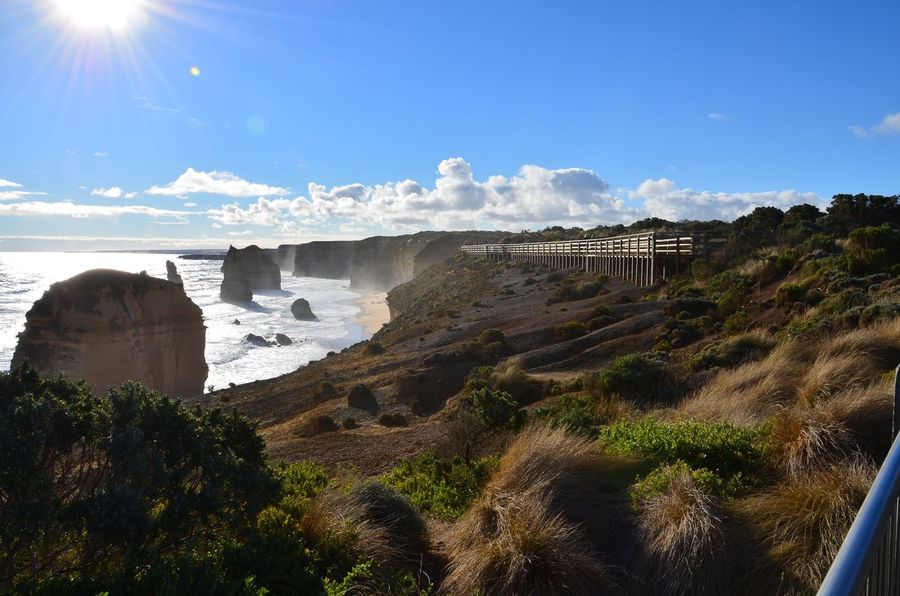 Nature Sky Beauty In Nature Geology Sunlight Scenics Sunbeam Landscape Rock - Object Physical Geography Cloud - Sky Outdoors Sun Travel Destinations Mountain No People Tree Day Australia Twelveapostles Greatoceanroad