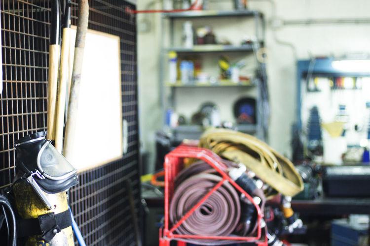 Interior of firefighter workshop