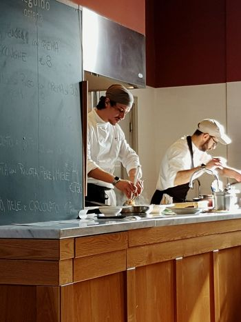 Occupation Working Day People Indoors  Togetherness Restaurant Restaurant Staff Chefs Food Preparation Plated Food Plating At Work Piedmont Italy Piedmont Food Italian Restaurant