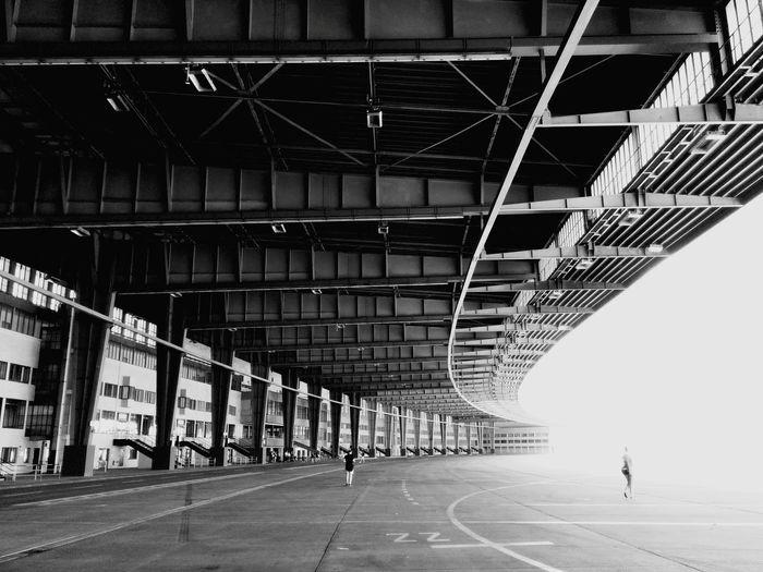 Bridge at tempelhof airport against clear sky