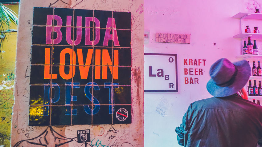 Szimpla Kert - One of the ruin bars of Budapest, Hungary Bars And Restaurants Budapest Budapest Streetphotography Budapest, Hungary Decor Hungary Text Bar Bars Decoration Interior Interior Design Men Multi Colored Real People Ruin Bar Sign