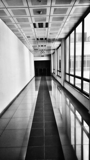 The Way Forward Indoors  Architecture Ceiling Built Structure No People Corridor Day Outdoors The Street Photographer - 2017 EyeEm Awards EyeEmNewHere Tranquility Black&white Blackandwhite Photography Focus On Foreground Art Is Everywhere