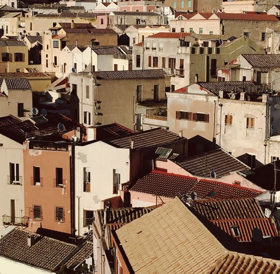 Cagliari , Sardinia in Italy Architecture Building Exterior Crowded Roof City High Angle View Cityscape Built Structure Town Outdoors Residential Building Day Tiled Roof  People Sardinia Sardegna Cagliari Cagliari, Sardinia Mediterranean  Village Old Town