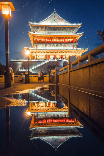 Fine Art Photography Reflection Reflections In The Water Xian China Architecture Chinese Architecture Drum Tower Travel Photography HUAWEI Photo Award: After Dark
