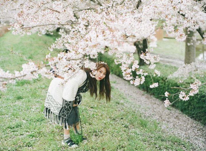 Full length portrait of woman bending by flowering tree at park