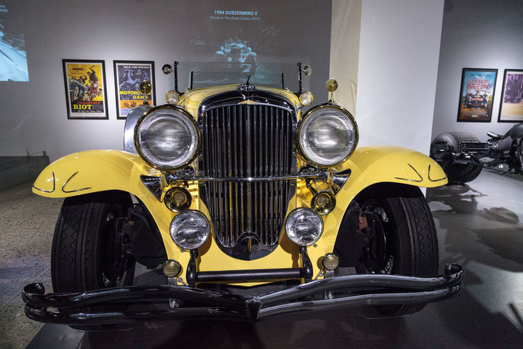 Los Angeles, CA, USA - March 4, 2017: Yellow 1984 Duesenberg II SJ driven in the move The Great Gatsby at the Petersen Automotive Museum in Los Angeles, California, United States. Editorial only. 1984 Antique Car Car Classic Car Convertible Duesenberg GREAT GATSBY Ii Luxury Luxurylifestyle  Movie Cars Movie Prop Old Car Petersen Automotive Museum Sj  Vintage Vintage Car Yellow