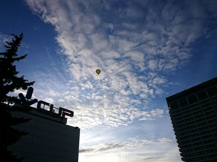 Low Angle View Sky Building Exterior Architecture Outdoors Day Built Structure Silhouette No People Flying Nature Nature Photography Vilnius, Lithuania Popular Photos Lost In The Landscape Autumn 2017 Autumn Collection Been There. Architecture Streetphotography City Mode Of Transport Street Photography Hotairballoon Adventure Adventures Hot Air Balloon Hotairballoons Autumn Beauty In Nature City Street Photography Transportation