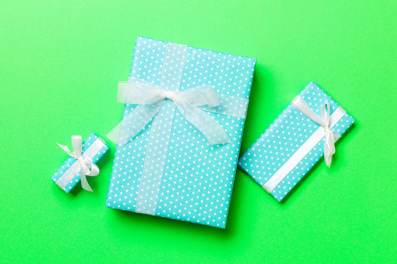 Green box on paper against blue background