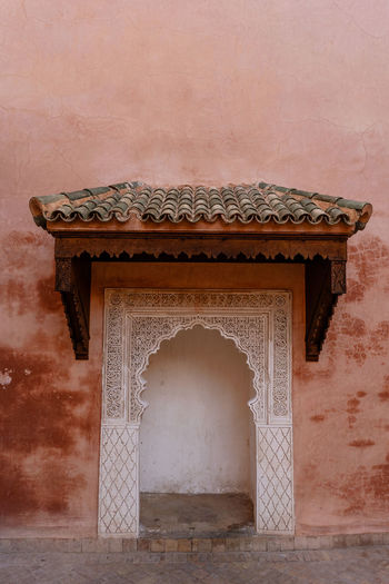 Marrakech Marrakesh Morocco Travel Destinations Tourist Attraction  Architecture Built Structure The Past History No People Wall - Building Feature Ancient Entrance Carving - Craft Product Building Exterior Architectural Feature Ancient Civilization Building Outdoors Ornate Nature Craft Arch Old
