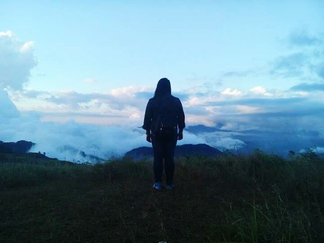 Sea of Clouds. My Year My View One Person Sky Landscape Beauty In Nature Cloud - Sky Tranquility Mountain Adventure Outdoors Scenics Fog Hiking Silhouette Nature