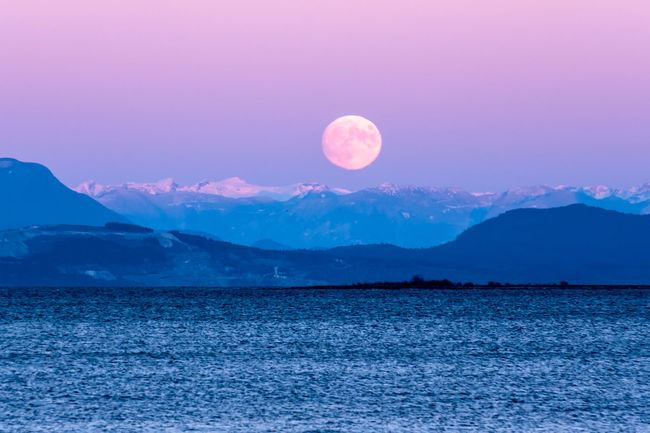 Moonrise over Baynes Sound Beauty In Nature Blue Calm Dramatic Sky Idyllic Majestic Moon Mountain Mountain Range Nature Non-urban Scene Physical Geography Scenics Sea Seascape Sky Sun Sunrise - Dawn Tourism Tranquil Scene Tranquility Travel Destinations Vibrant Color Water Waterfront