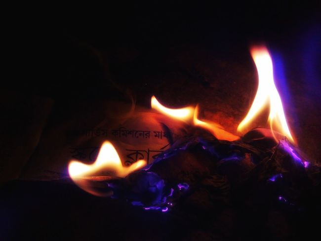 Heat - Temperature Flame Glowing Burning Night Illuminated Inferno Paperburnt
