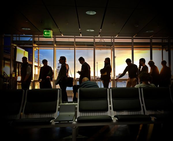 Boarding Queueing Vueling Munich Airport Sunset Silhouettes Traveling The Tourist Q For Queue Q Line Up Lining Up Airport Airportphotography Germany IPhoneography Chek This Out  Passenger Passengers Waiting In Line Dusk Dusk Colours People And Places