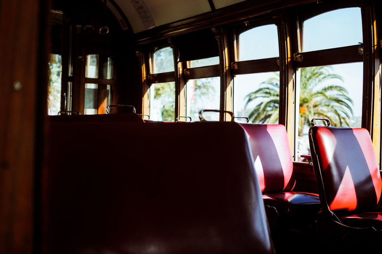 Interior of empty cable car
