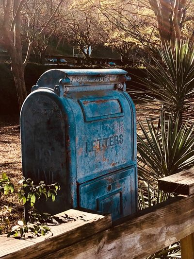 Mailbox Mailbox Nature Sunlight Day No People Plant Outdoors Blue Metal Communication