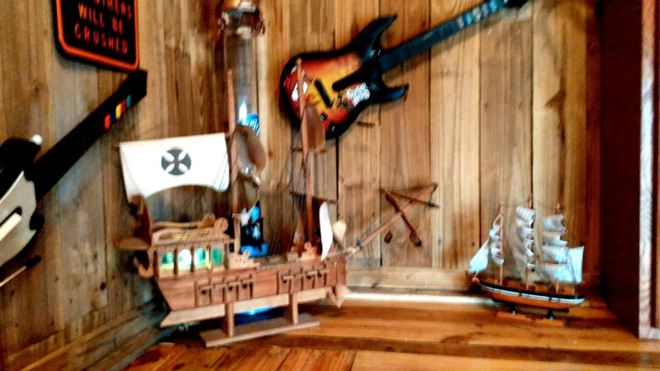 Guitars music ships inside man cave no people Cleveland, Texas