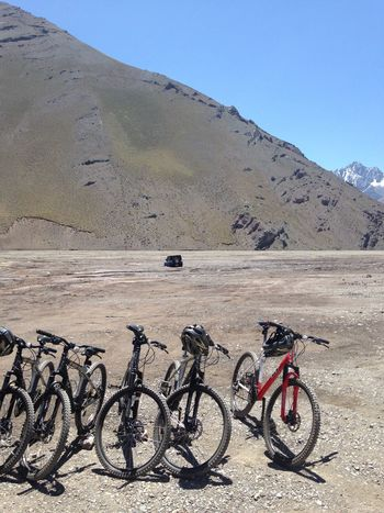 Biking in Embalse el yeso Adventure Chile Embalse El Yeso Mountain Bicycle Landscape Car