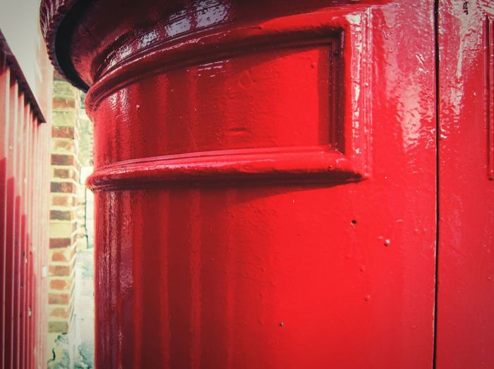 """""""Pillar Box Red"""" Red Built Structure Building Exterior Outdoors Close-up Lindsay's Shiny Things Gloss, Shine, Luster, Splendor, Sheen, Sparkle Paint Royal Mail English Red Post Box Postbox Women On The Spectrum Copy Space"""