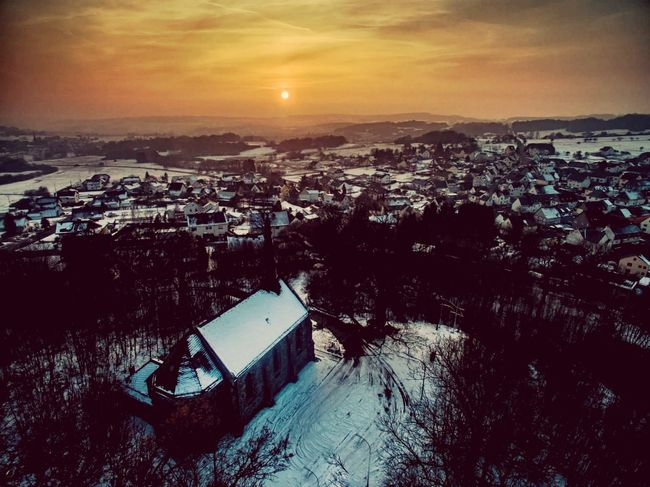 Vintage Vintage Photo Church Church Architecture Snow ❄ Snow Sunlight Sun Sunset_collection Quiet Moments Quiet darkness and light Dark Photography Skyporn High Angle View No People Outdoors Aerial View Sunset Day Nature City Cityscape Sky