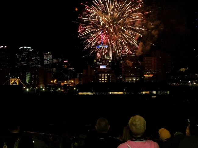 Night Firework Display Celebration Firework - Man Made Object Illuminated Arts Culture And Entertainment Outdoors City Cityscape Large Group Of People Spectator Excitement Baseball Stadium Pittsburgh Pirates PNC Park Pittsburgh Pennsylvania Motion Exploding Celebration Event Multi Colored Awe Sky Long Exposure Urban Skyline The Week On EyeEm Perspectives On Nature