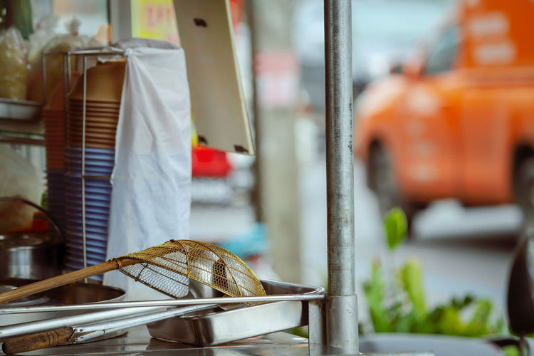 Close-up of clothes for sale at market stall