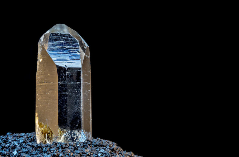 An upright quartz crystal
