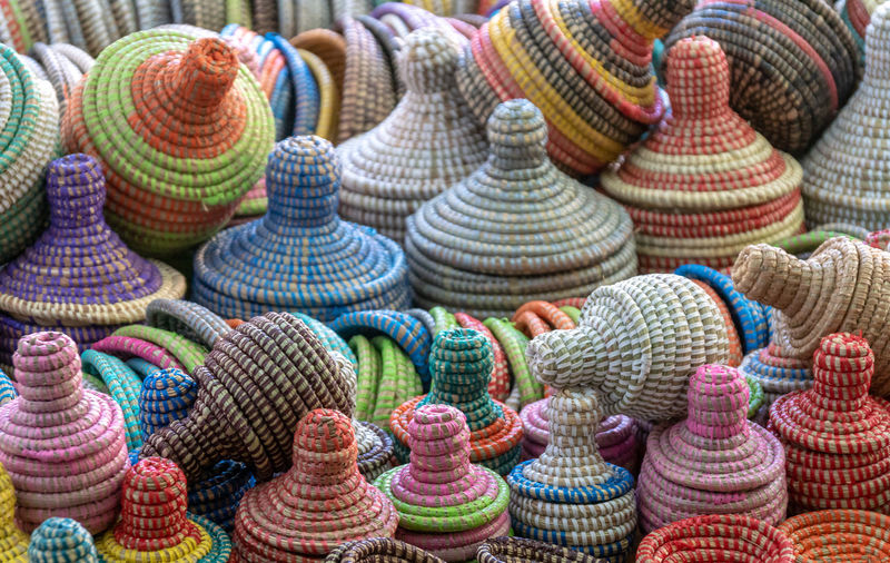 Close-up of colorful woolen container for sale