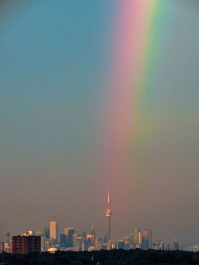 Sunset Rainbow Over Toronto This Evening 🌈🌆 Architecture Check This Out City EyeEm Best Shots Hanging Out Hello World Nature Relaxing Taking Photos Toronto Tranquility Beauty In Nature Building Exterior Built Structure Canada Coast To Coast Day Enjoying Life First Eyeem Photo Landscape No People Outdoors Rainbow Sky Skyporn Sunset