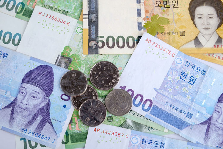 Korean Currency Korean Currency Korean Won Close-up Coins Currency Money Paper Currency Won