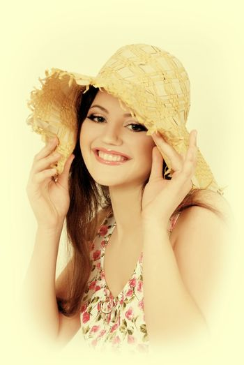 Only Women One Woman Only Portrait Adults Only Smiling One Person Beauty Beautiful Woman Adult Looking At Camera Happiness Beautiful People Cheerful Women One Young Woman Only People Summer Girls Hat Summerhats Vintage Photography White Background Indoors  Close-up Charming