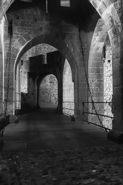 Carcassonne Carcassonne City MedievalTown Night Photography Arch Architectural Column Architecture Black And White Black And White Photography Built Structure History Medieval Architecture Monochrome Photography Night Travel Destinations