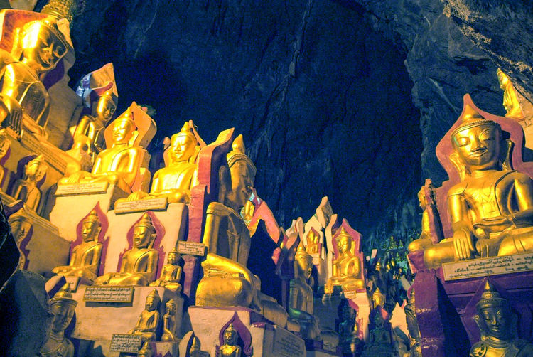 Buddha Golden Ancient Civilization Architecture Building Exterior Burma Cave Close-up History Illuminated Low Angle View Myanmar Night No People Outdoors Place Of Worship Religion Sculpture Spirituality Statue Staue  Travel Destinations
