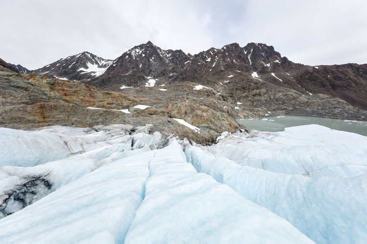 Scenic View Of Mountains Against Sky At Glacier Lagoon
