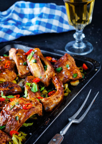 Roasted sliced barbecue pork ribs seasoned with a spicy basting sauce Barbecue BBQ Beef Food Grilled Marinade Meat Pork Ready-to-eat Ribs Rustic Rustic Style Vegetable мясо