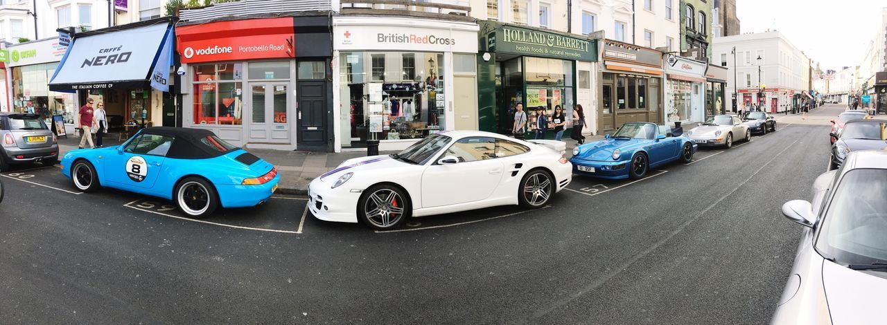 Porsches in Portobello Road Portobello Road London Porsche Car Transportation Mode Of Transport Land Vehicle Building Exterior Street