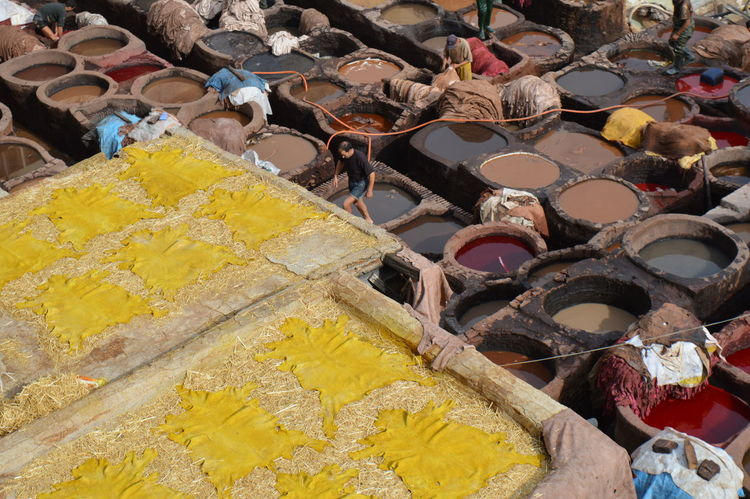 Abundance Arrangement Art And Craft Choice Collection Colorful Cultures Day Fes For Sale High Angle View In A Row Large Group Of Objects Market Market Stall Morocco Multi Colored No People Outdoors Retail  Tanneries Tannery Variation Yellow