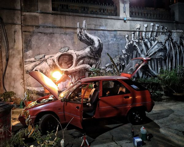Car fixing at night Creepy LaTabacalera Architecture Lowkey  Nightscene Streetart Streetphotography Red CityAtNight Mobilephotography Night Land Vehicle Road Car Street Car Interior Close-up