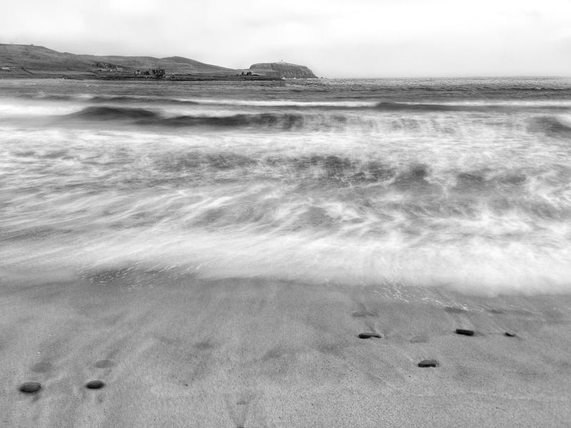 Water Sea Nature Scenics Beach Sand Wave Motion Waves Rolling In Waves, Ocean, Nature Landscape Power In Nature Blackandwhite Eye4photography  The Week On EyeEm Shetland Sumburgh Head Shetland IPhoneography Black And White Friday