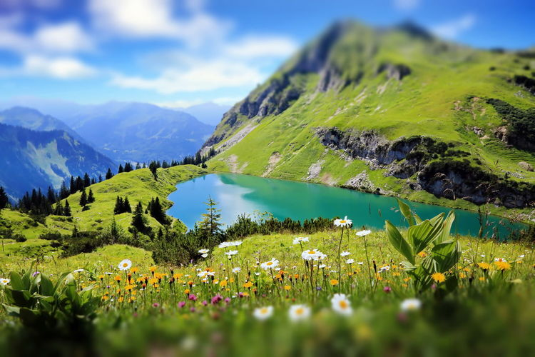 Seealpsee a high mountain lake in the bavarian alps