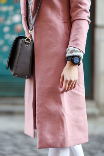 Close-up Coat Day Fashion Human Hand One Person One Woman Only Outdoors Pink Smartwatch Watch Winter Clothes 
