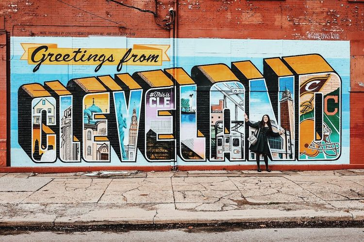 Art Art And Craft Cleveland Communication Creativity Day Full Frame Graffiti Greetings Greetingsfromcleveland Guidance Information MidWest Multi Colored Ohio Pattern Sidewalk Sign Street Art Symbol Text Wall Wall - Building Feature Western Script