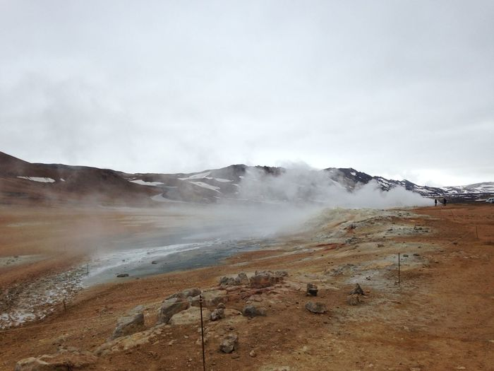 Iceland Myvatn Geothermal  Sky Scenics - Nature Environment Landscape Cloud - Sky Mountain Beauty In Nature Nature Steam Non-urban Scene Day Smoke - Physical Structure Geology No People Physical Geography Power In Nature Land Hot Spring Outdoors Natural Wonder Travel Destinations