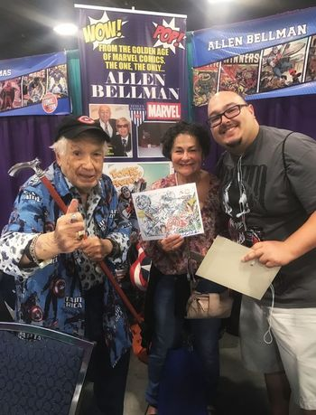 When legends come alive....its creativity that keeps humans in the world, the ability to imagine andgive life it comes from that place where we all belong to each other....what makes us a different species ....honoring a legend, Allen Bellman...92 years and still working... Legends Live Forever.. Comic Books Comics Lovers Creativity Has No Limits Comicon 2016 mid adult men Customer  Mid Adult Adults Only Friendship Waiting Smiling Mature Men Adult Men Indoors  Cheerful Only Men People Young Adult