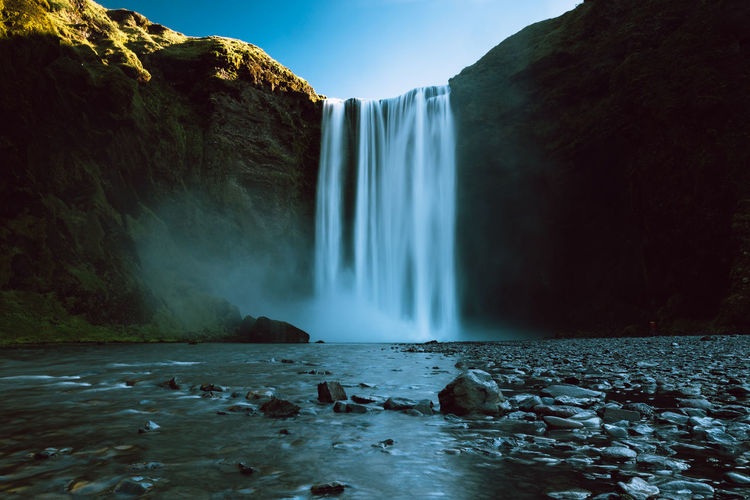 Beauty Beauty In Nature Blue Iceland Landscape Long Exposure Motion Nature Nature No People Outdoors Running Water Scenics Seljalandsfoss Sky Stream - Flowing Water Summer Sunset Travel Destinations Water Waterfall